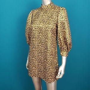 ZARA Metallic Leopard Print Mini Dress / (NWT)
